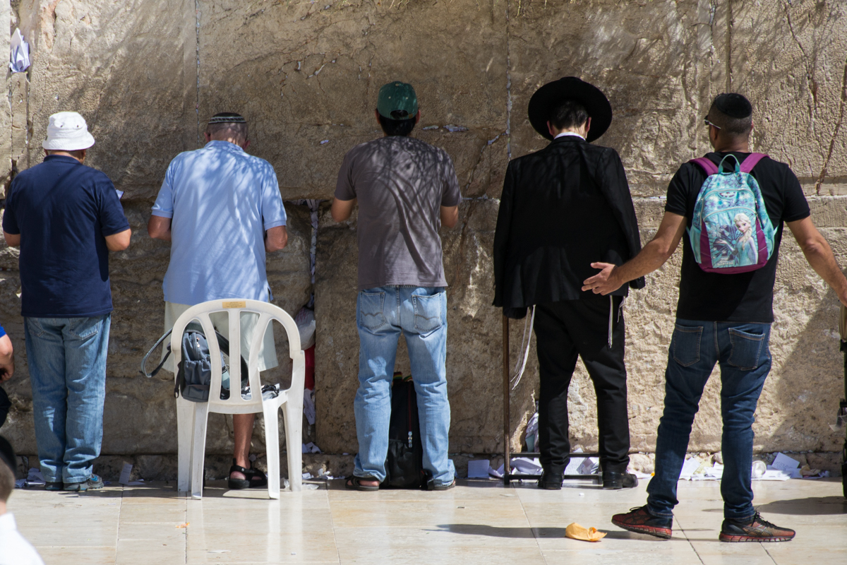 Israel - Praying men Western Wall- 1200px